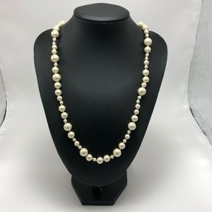 J. Crew Long Single Strand Faux Pearl Necklace